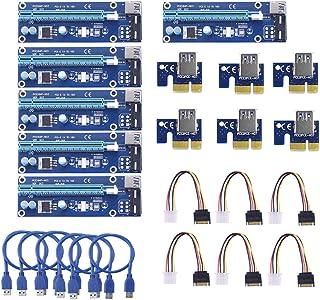 Sienoc USB 3.0PCI-E Express 1X a 16X extensor Riser Card Adapter Power Kable Mining 6 unidades