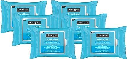 Neutrogena Hydro Boost Abschminktücher, Aqua Reinigungstücher mit Hyaluron, Make-Up Entferner, 6 x 25 Stück