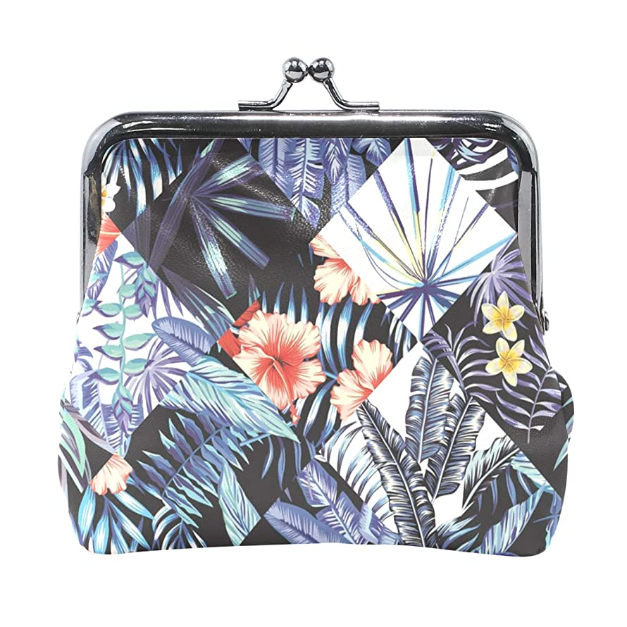 MALPLENA Blue Palm Tree Leaves change purse for women leather purse