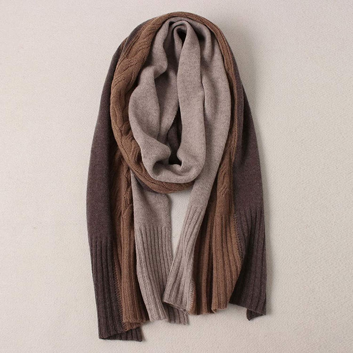 ZXW Scarf Winter Korean Version of The Wild Threecolor Pure Wool Long Section Warm Thick Scarf (color   Brown, Size   40x190cm)
