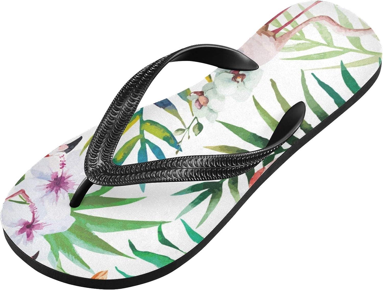 Qilmy Flamingo Watercolor Flip Flop Casual Lightweight Non-slip Summer Sandals Women's Men Slippers,S