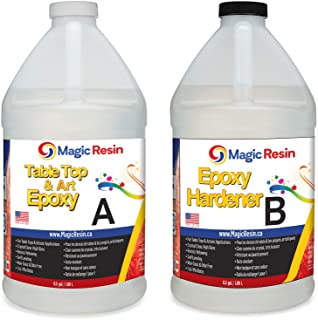 Magic Resin | 1 Gallon (3.8 L) | Premium Quality Clear Epoxy Resin Kit | Non-Toxic | High Gloss Thick Clear Coat | For Tab...