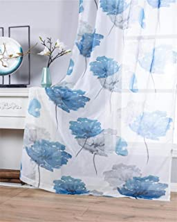 Contemporary Watercolor Petal Print Curtains 72 Inch Length 2 Pieces Blue Flower Curtains for Patio Glass Door,Ornamental Grommet Floral Sheer Curtains,2 Panel Set,54W ×72L Inches,Blue-Grey