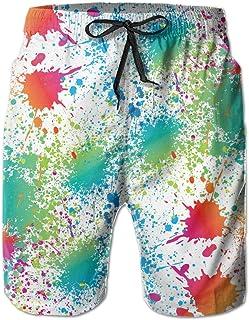 Paint Splatter Colorful Mens Shorts Swim Trunks Quick Dry Beach Surfing Running Swimming Water Pants