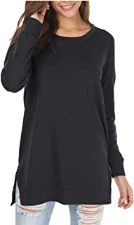levaca Women's Fall Long Sleeve Side Split Loose Casual Pullover Tunic Tops