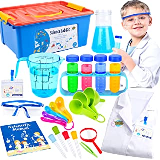 Kids Science Experiment Kit with Lab Coat Scientist Costume Dress Up Role Play Toys for Boys Girls Kids Age 3-11 Birthday ...