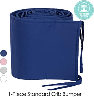 TILLYOU Cotton Collection 1-Piece Nursery Crib Bumper Pads for Standard Cribs 28x52, Machine Washable Padded Crib Liner for Baby Boys, Safe and Soft Crib Padding Protector for Head Banging, Navy Blue