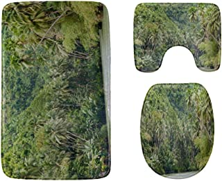 Tributaries of The Amazon River Bathroom Rug Mats Set 3-Piece,Soft Shower Bath Rugs,Contour Mat and Toilet Seat Lid Cover ...