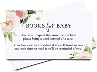Bliss Collections Book Request Cards for Baby Shower, Boho Floral Books for Baby Insert, Pink Flower Design, Girl, 50 Pack