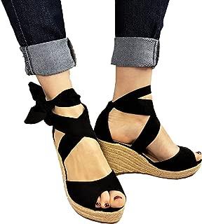 Ru Sweet Women's Wedge Sandals Lace up Ankle Strap Peep Toe High Heel Platform Shoes