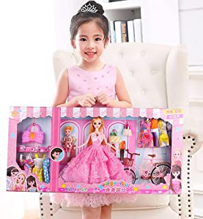 Good Barbie Barbie doll 73 / 60cm gift box family girl toy Barbie doll suit Colorfultime-Pink(73cm)