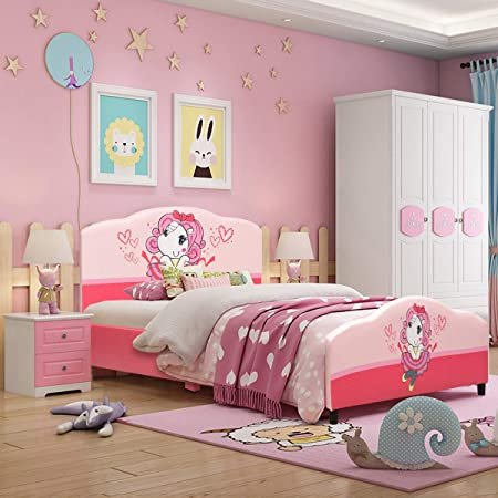 Costzon Toddler Bed Twin Size Upholstered Platform Bed Kids Bed W Wood Frame Pvc Surface Adjustable Feet For Boys Girls Children Classic Sleeping Bedroom Furniture Princess Pattern Pink Kitchen Dining