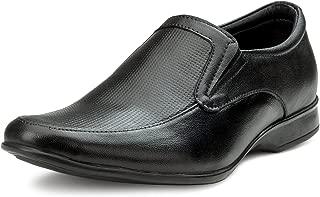 Escaro Everyday Wear Men's Black Leather Slip On Shoes