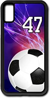 iPhone X Case Soccer Ball SC039Z Choice of Any Personalized Number Phone Case by TYD Designs in Black Plastic with Team Player Jersey Number 47