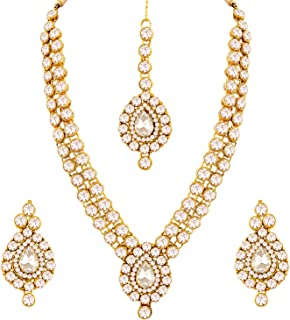 Aheli Ethnic Wedding Party Wear Gold Tone Faux Stone Studded Necklace with Stud Earrings Set Indian Bollywood Fashion Jewe...