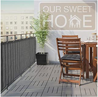 Balcony Privacy Screen Cover – Heavy Duty 210 GSM, UV and Weather Resistant, High Visibility Reduction – Includes Rope & Black Cable Ties for Porch, Patio, Apartment, Deck – Dark Gray/Grey, 3' X 16'