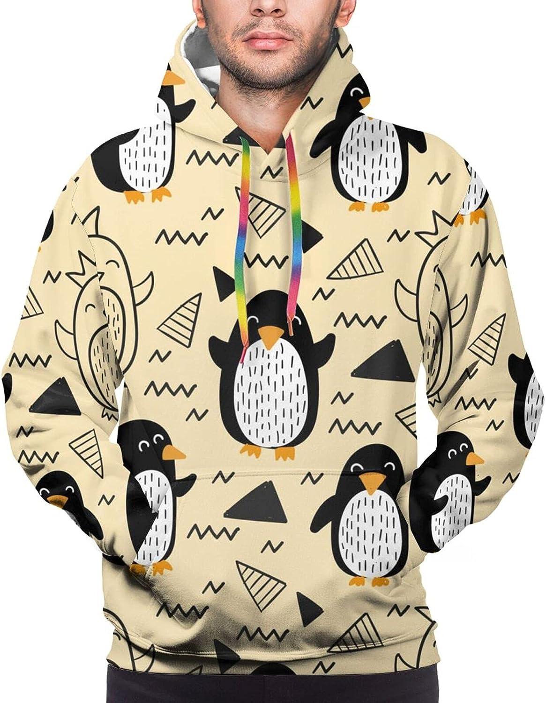 Hoodie For Mens Womens Teens Penguins Cartoon Pullover Hooded Sports Sweatshirt