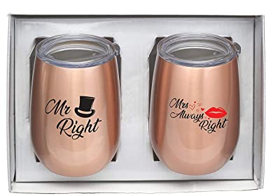 """Stemless Wine Glass Gift Set """"Mr. Right"""" & """"Mrs. Always Right"""" (9 oz.) 