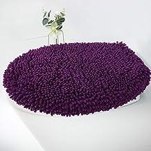 MAYSHINE Seat Cloud Bath Washable Shaggy Microfiber Standard Toilet Lid Covers for Bathroom -Plum