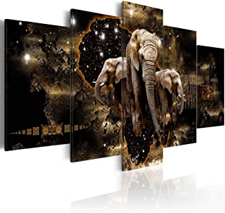 Konda Art Elephant Family Wall Pictures for Living Room Starry Sky 5 Piece Animal Painting on Canvas Contemporary Home Decoration Print Artwork Framed and Ready to Hang (Brown Elephants, 60