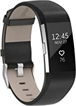 Henoda Replacement Bands Compatible with Fitbit Charge 2, Classic Genuine Leather Charge 2 Band Fitness Wristband for Women Men Small Large Black