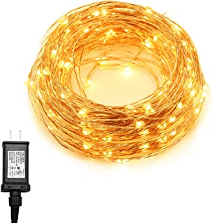 Ylife 33Ft 100 LED String Lights, Warm White Fairy Lights Plug in, Waterproof, Flexible Copper Wire, Decorative Lights for Festival Party, UL Adapter Included
