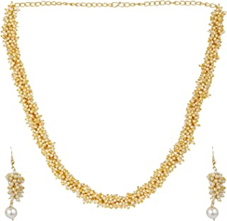 Indian Bollywood 14 K Gold Plated Faux Pearl Beads Bridal Strand Statement Necklace Earrings Wedding Jewelry Set