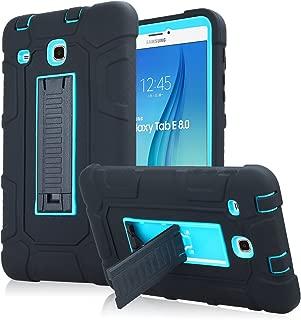 Samsung Galaxy Tab E 8.0 Case, High Impact Armor Heavy Duty Hybrid Shockproof Protection Cover Built with Kickstand for Samsung Galaxy Tab E 32GB SM-T378/Tab E 8.0 Inch SM-377 Tablet (Blue)