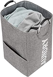 NISHEL Large Laundry Hamper with Handles, Collapsible Dirty Clothes Basket for Washing Storage, Grey (White Laundry)