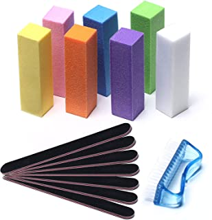Modelones Professional Nail Files and Buffer Shiner Polisher Manicure Tools Kit Art Supplies Pedicure 100/180 Grit & Buffers Brush 15Pcs/Pack