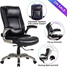 Office Chair High Back Leather Executive Computer Desk Chair - Adjustable Lumbar Support, Slidable Headrest and Flip-up Arms, Thick Padding for Comfort