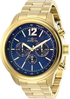 Invicta Men's Aviator Quartz Watch with Stainless Steel Strap, Gold, 22 (Model: 28896)