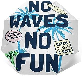 Paraguas Plegable Automático Impermeable Parches de Lema de Surf en la Playa, Paraguas De Viaje Compacto a Prueba De Vient...