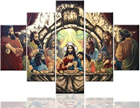 Jesus Framed Picture Last Supper Wall Decor Art Work for Home Walls Paintings Pictures 5 Pcs Canvas Home Decor for Living Room Giclee Artwork Gallery-wrapped Stretched Ready to Hang(60''Wx40''H)