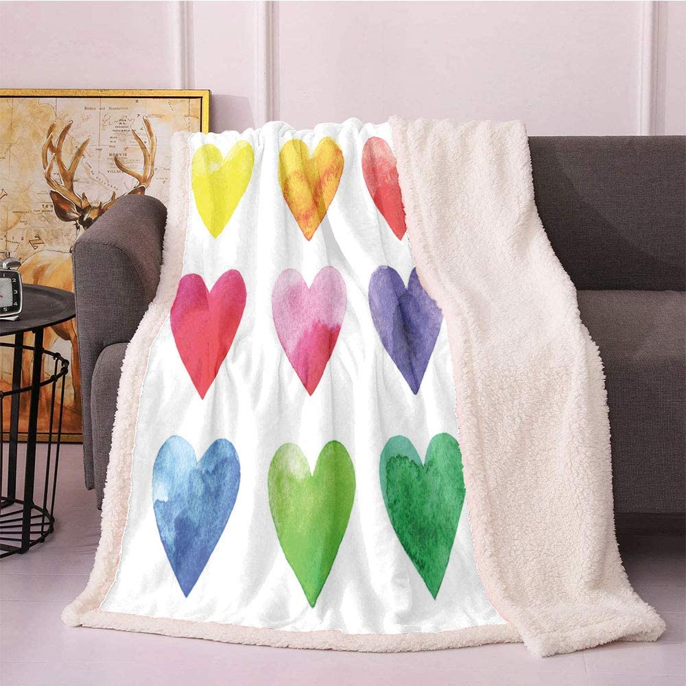 SeptSonne Valentine Sherpa Blankets Rainbow Colored Heart Rapid Genuine rise Shapes