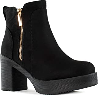 RF ROOM OF FASHION Women's Chunky Platform Heel Ankle Boots Bootie Black SU Size.7.5