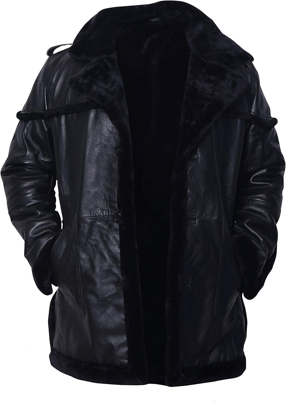 Black Sheepskin Faux Shearling Leather Jacket Winter Coat (M)