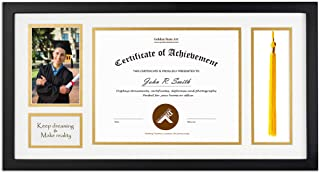 Golden State Art, Diploma Tassel Shadow Box 11x22 Frame for 8.5x11 Document/Certificate & 4x6 Photo, with Double Mat (White Over Gold), Tassel Holder & Real Glass, Black