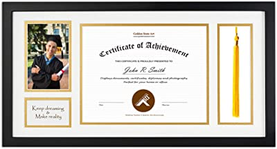 Golden State Art Diploma Tassel Shadow Box 11x17 5 Wood Frame For 8 5x11 Document Certificate With Double Mat Black Over Gold Tassel Holder Real Glass Black
