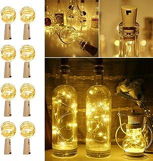 LE Bottle Lights with Cork, 2M 20 LED Cork Lights for Bottles, Warm White Fairy Lights Battery Operated, 8 Pack LED Bottle...