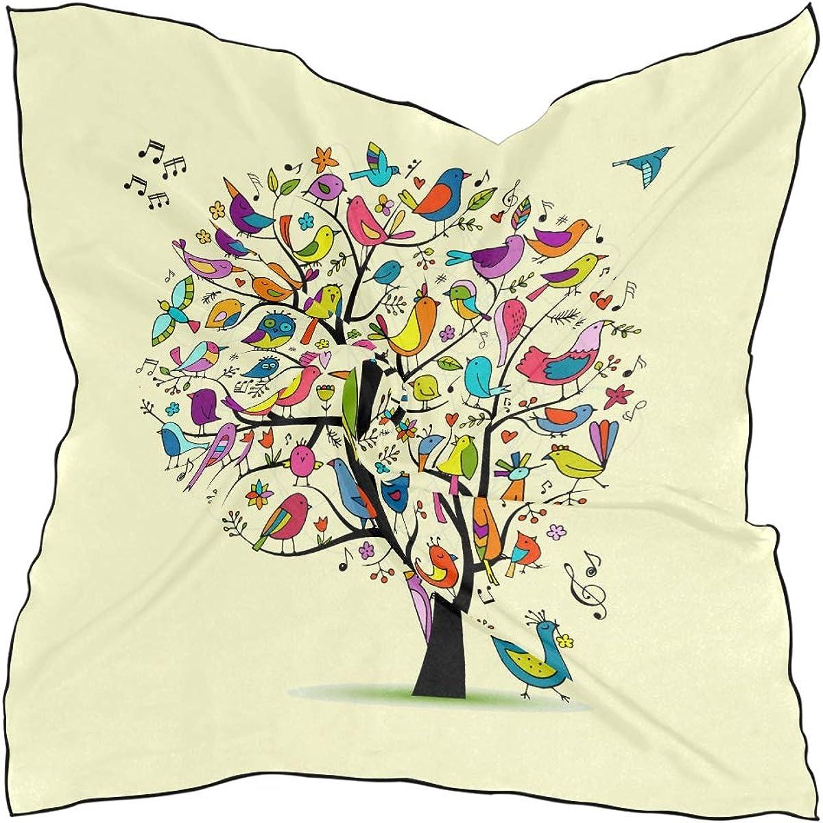 Soft Polyester Silk Head Silk Scarf Fashion Print Colorful Cartoon Wonderful Tree Hair Wrap Scarf Scarves Women Womens Scarves Multiple Ways Of Wearing Daily Decor