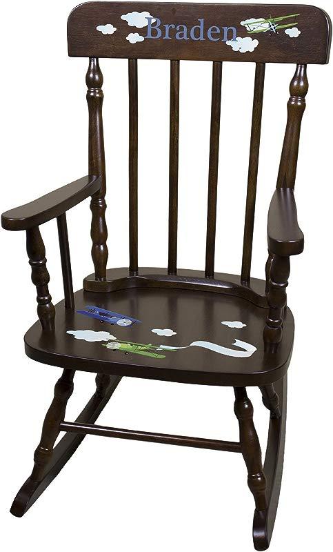 Personalized Espresso Airplane Rocking Chair
