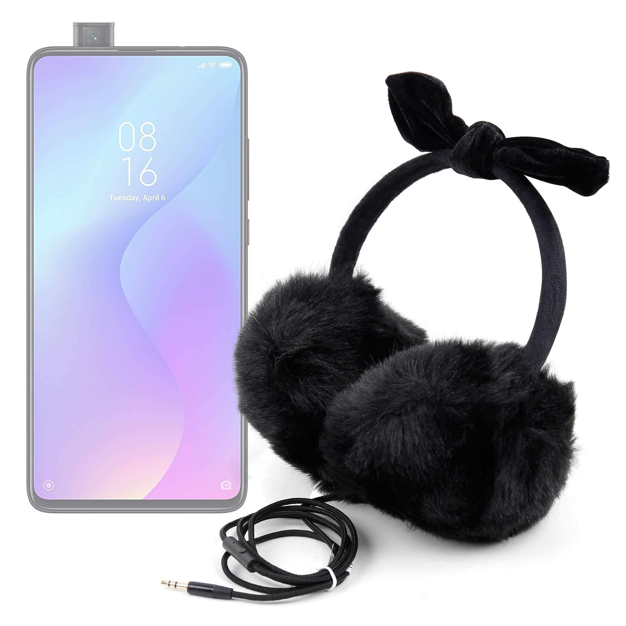 DURAGADGET Auriculares de Diadema con Exterior de Peluche Compatible con Smartphone Xiaomi Mi 9T Pro, REALME 5, REALME 5 Pro para Invierno. Color Negro: Amazon.es: Electrónica