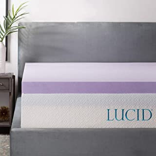 LUCID 3 Inch Lavender Infused Memory Foam Mattress Topper – Ventilated Design..
