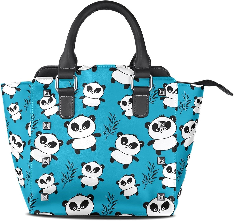 My Little Nest Women's Top Handle Satchel Handbag Funny Pandas Print Ladies PU Leather Shoulder Bag Crossbody Bag