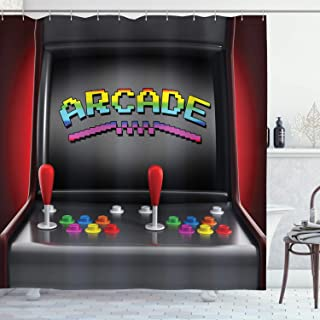 Ambesonne Video Games Shower Curtain, Arcade Machine Retro Gaming Fun Joystick Buttons Vintage 80's 90's Electronic, Cloth Fabric Bathroom Decor Set with Hooks, 70