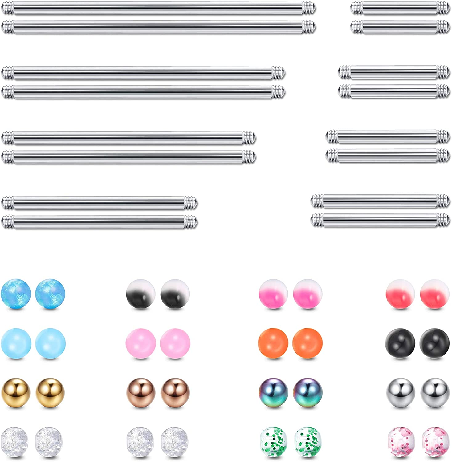 YADOCA 16 PCS 14G Tongue Rings for Women Men Industrial Barbell Helix Cartilage Earrings Stainless Steel Straight Nipple Body Piercing Jewelry 12-38MM With 32 PCS Replacement Balls