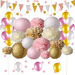 Pink And Gold Party Decorations 50 Pc Supplies Paper Pom Poms