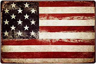 HANTAJANSS America Flag Signs Retro Metal Signs for Wall Art Decoration 12 X 8 Inches