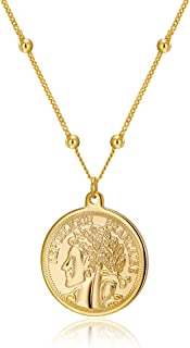 ACC PLANET Coin Necklace Gold Plated Dainty Vintage Round Circle Disc Coin Pendant Gold Necklace Jewelry for Women Gifts